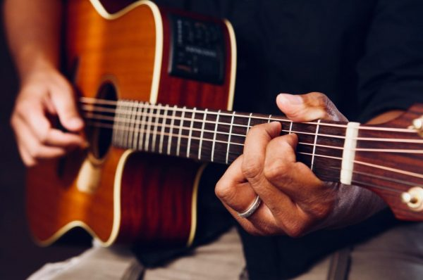 Man playing an acoustic guitar. Image Credit: guitarlessons365.com
