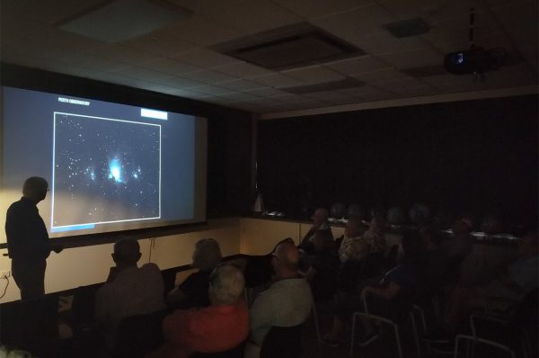 Volunteer Arthur gives his astronomical presentation. Image Credit: Matt Woods