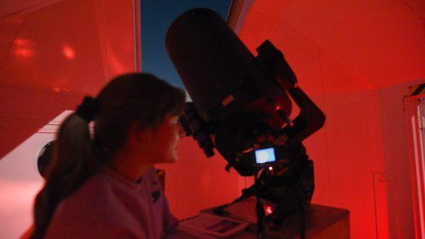 Attendee using the Meade 14 Telescope to record Jupiter. Image Credit: Matt Woods