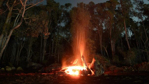 A camp fire at the Perth Observatory. Image Credit: Matt Woods