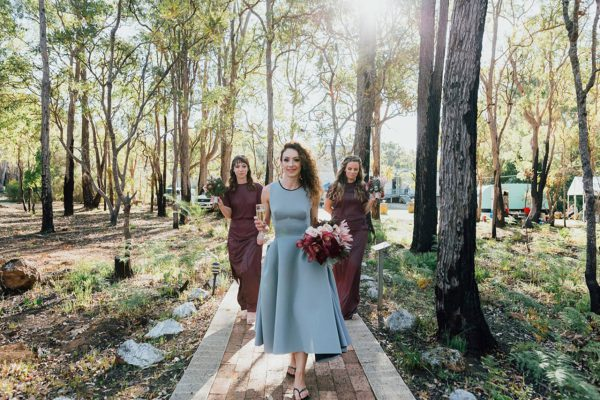 Francis and her maids of honor walking up the path to the telescope area. Image Copyright: Michelle Lucking (Lucking Photography)