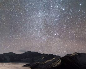 Geminids over mountains banner