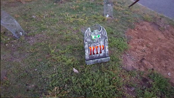 Tombstone outside the Observatory on Halloween Night Tour. Image Credit: Matt Woods