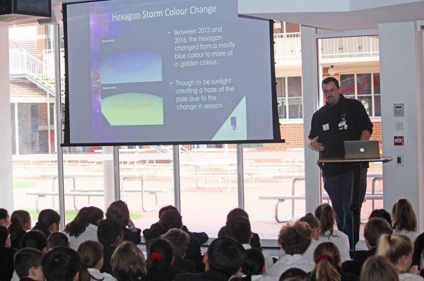 Volunteer Matt Woods giving his Cassini-Huygens Mission talk to Ursula Frayne Catholic College students. Image Credit: Ursula Frayne Catholic College