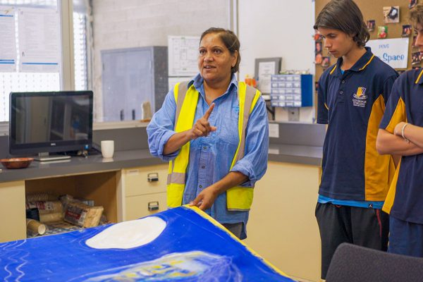 Miranda Farmer talking to Follow the Dream students. Image Credit: Edwin Sitt