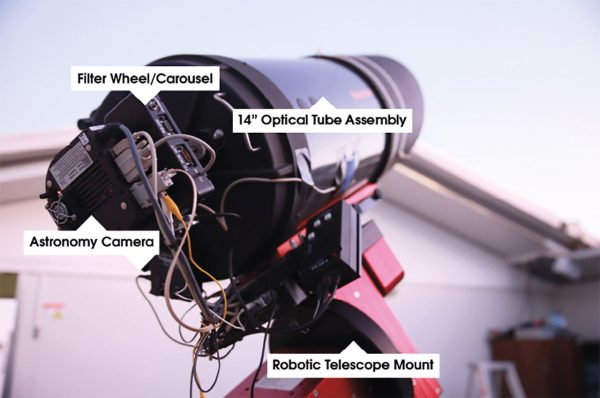 The R-COP telescope labelled. Image Credit: Roger Groom
