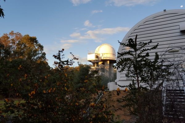 The Perth-Lowell Dome lit up by sunset. Image Credit: Matt Woods